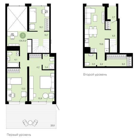 Вариант №4173, 4-комнатная квартира в жилом комплексе Montblanc