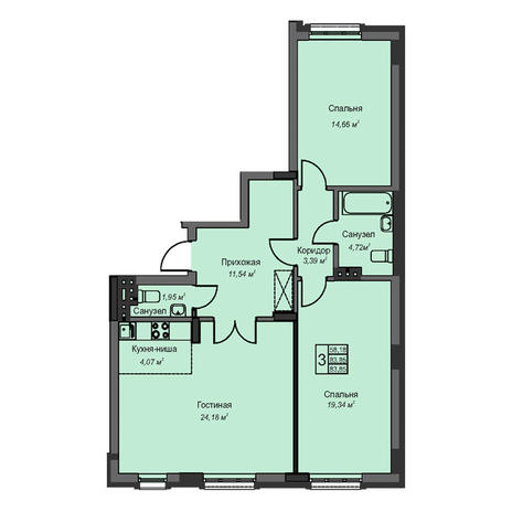 Вариант №3089, 3-комнатная квартира в жилом комплексе