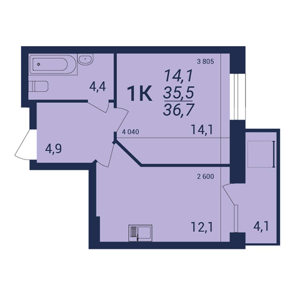 Планировка 1-комнатная площадью 36.7 м<sup>2</sup> в ЖК NOVA-дом