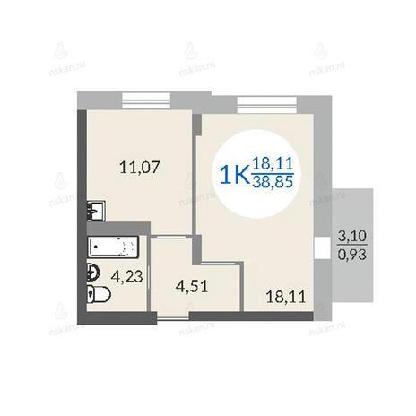 Вариант №1076, 1-комнатная квартира в жилом комплексе Красный проспект 163/6