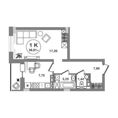 Вариант №5210, 1-комнатная квартира в жилом комплексе