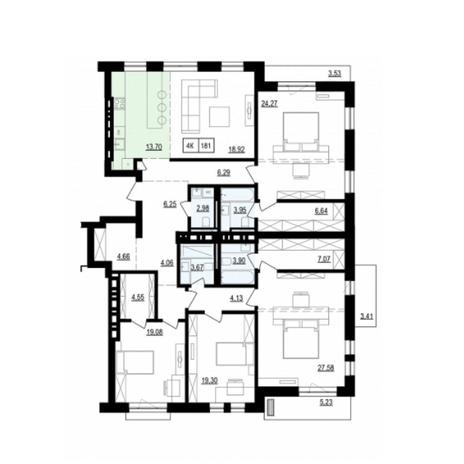 Вариант №6043, 5-комнатная квартира в жилом комплексе