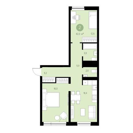 Вариант №4645, 3-комнатная квартира в жилом комплексе Европейский Берег