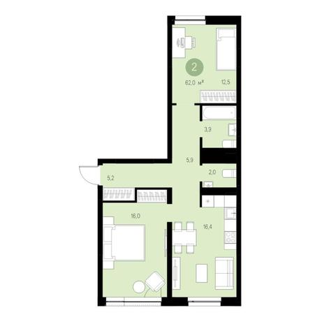 Вариант №4645, 3-комнатная квартира в жилом комплексе