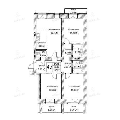 Вариант №1046, 4-комнатная квартира в жилом комплексе Потанинская 2