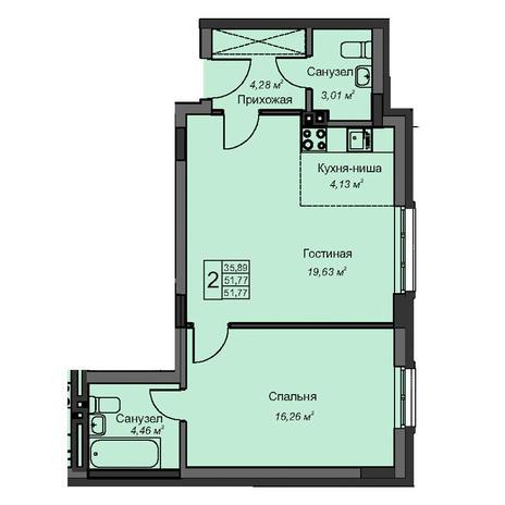 Вариант №3083, 2-комнатная квартира в жилом комплексе