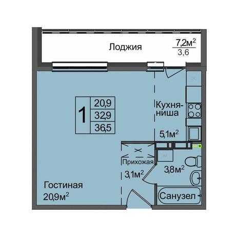 Вариант №3896, 1-комнатная квартира в жилом комплексе Венеция