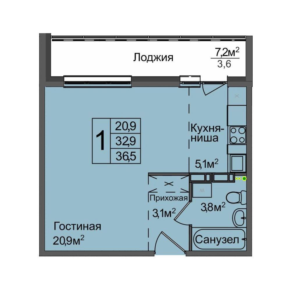 Планировка 1-комн. студия площадью 36.5 м<sup>2</sup> в ЖК Венеция