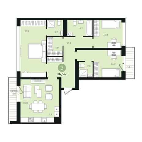 Вариант №6339, 4-комнатная квартира в жилом комплексе