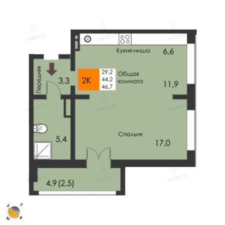 Вариант №2299, 2-комнатная квартира в жилом комплексе