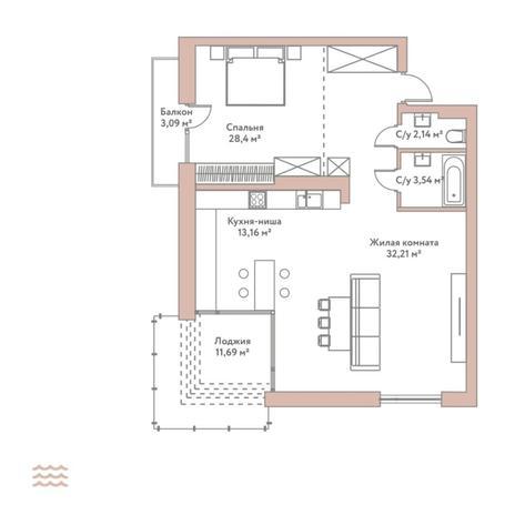 Вариант №5793, 2-комнатная квартира в жилом комплексе Нобель
