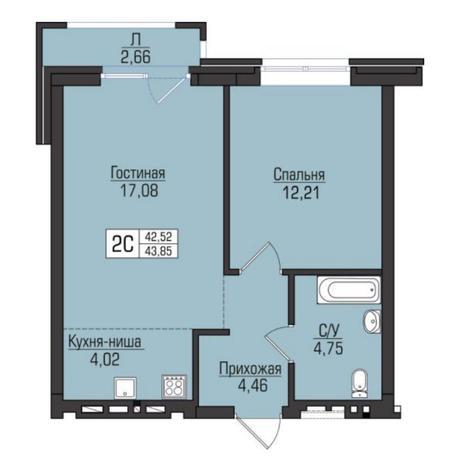 Вариант №5093, 2-комнатная квартира в жилом комплексе Цивилизация