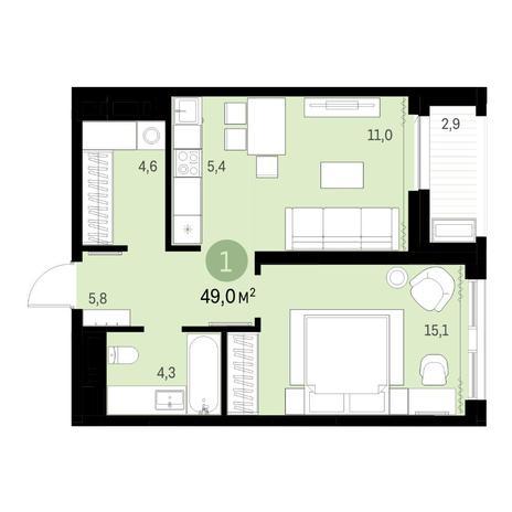 Вариант №6307, 2-комнатная квартира в жилом комплексе