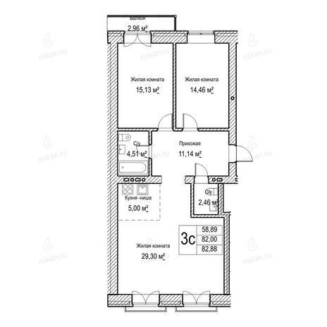 Вариант №1047, 3-комнатная квартира в жилом комплексе Потанинская 2