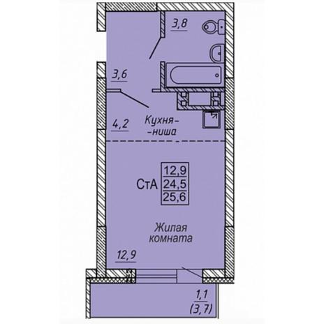 Вариант №5320, 1-комнатная квартира в жилом комплексе