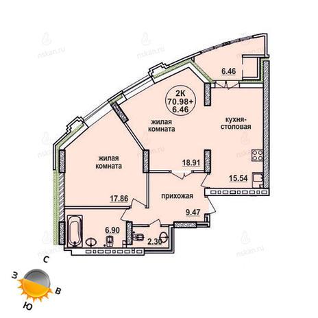 Вариант №864, 2-комнатная квартира в жилом комплексе Заельцовский