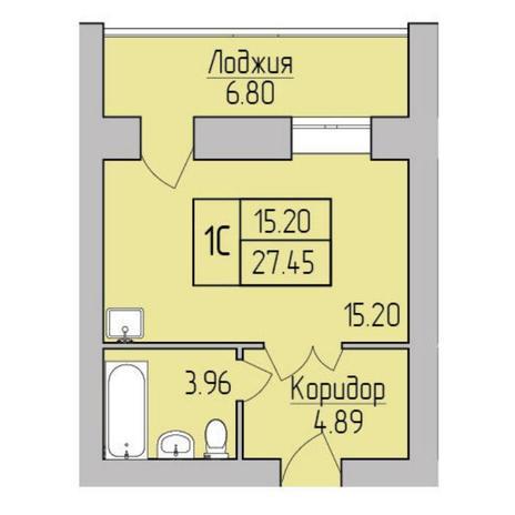 Вариант №5367, 1-комнатная квартира в жилом комплексе