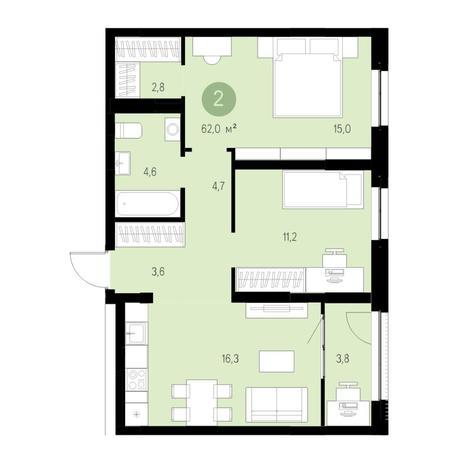 Вариант №4717, 3-комнатная квартира в жилом комплексе Европейский Берег