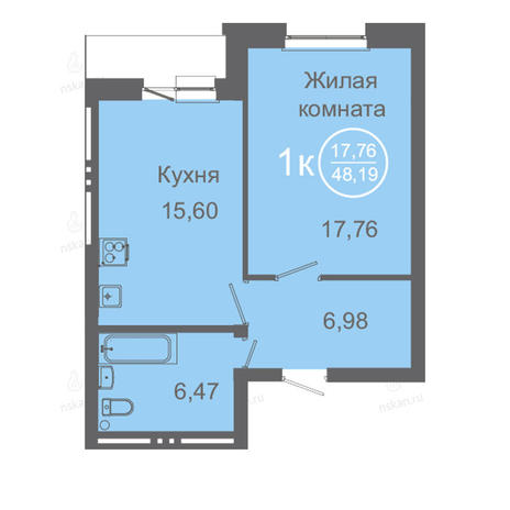 Вариант №2426, 2-комнатная квартира в жилом комплексе
