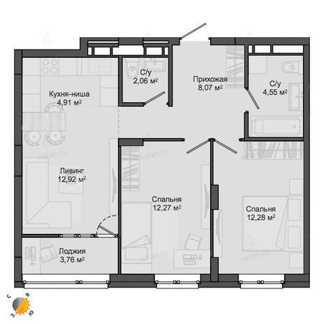 Вариант №2138, 3-комнатная квартира в жилом комплексе