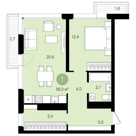 Вариант №4145, 2-комнатная квартира в жилом комплексе Авиатор