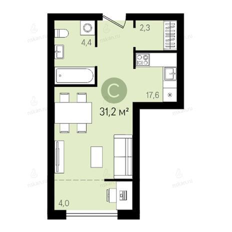 Вариант №2645, 1-комнатная квартира в жилом комплексе Квартал на Никитина