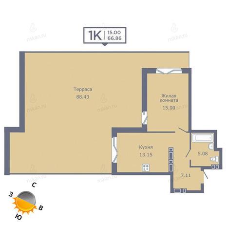 Вариант №1350, 1-комнатная квартира в жилом комплексе Дом на Садовой