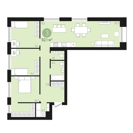 Вариант №4012, 4-комнатная квартира в жилом комплексе