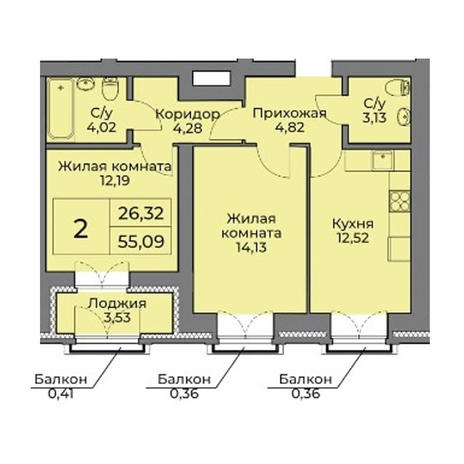 Вариант №3543, 2-комнатная квартира в жилом комплексе