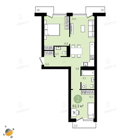 Вариант №2404, 3-комнатная квартира в жилом комплексе Европейский Берег