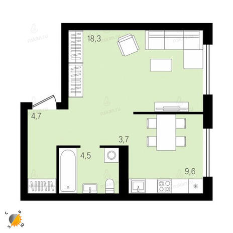 Вариант №2160, 1-комнатная квартира в жилом комплексе На Декабристов