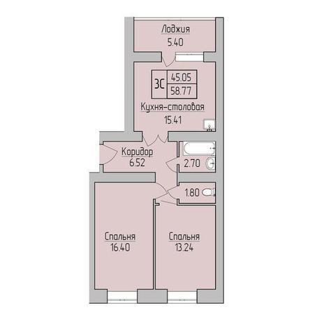 Вариант №3829, 3-комнатная квартира в жилом комплексе