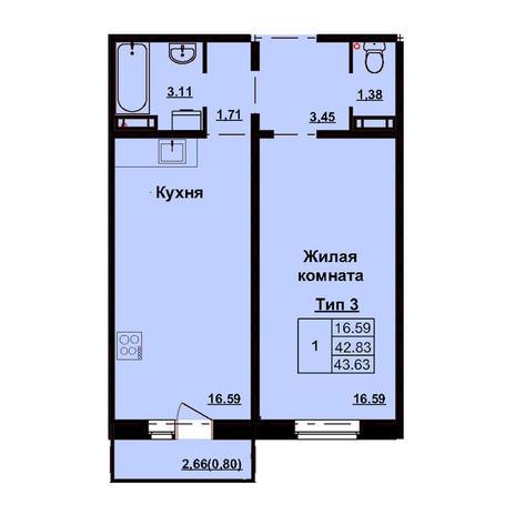 Вариант №3174, 1-комнатная квартира в жилом комплексе Приозерный