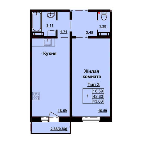 Вариант №3174, 1-комнатная квартира в жилом комплексе Родники