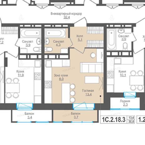 Вариант №845, 1-комнатная квартира в жилом комплексе Пифагор