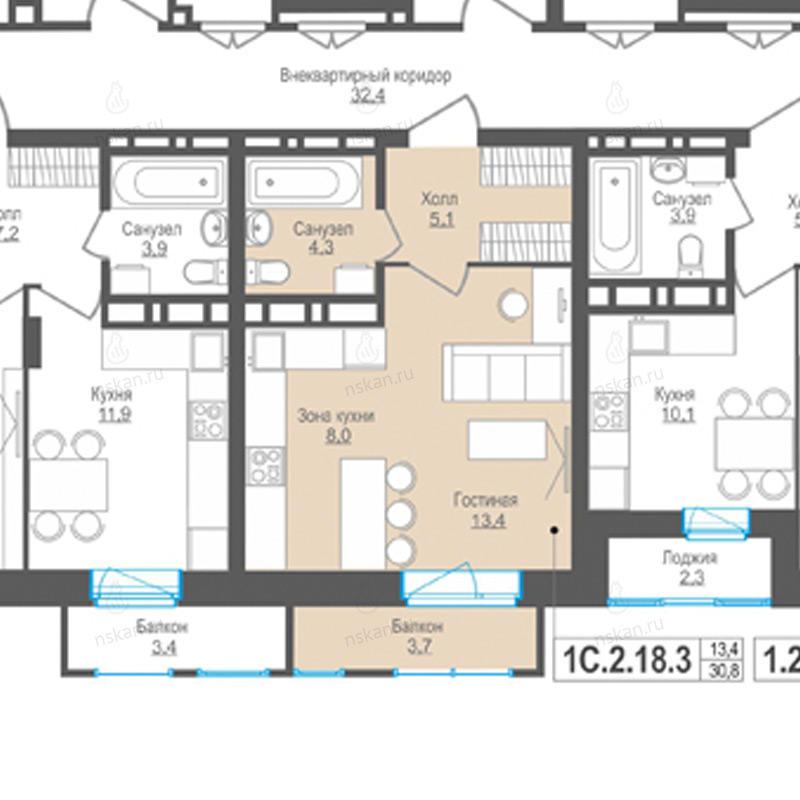 Планировка 1-комн. студия площадью 30.8 м<sup>2</sup> в ЖК Пифагор