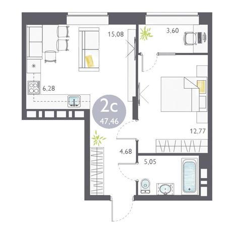 Вариант №3358, 2-комнатная квартира в жилом комплексе Ясный берег