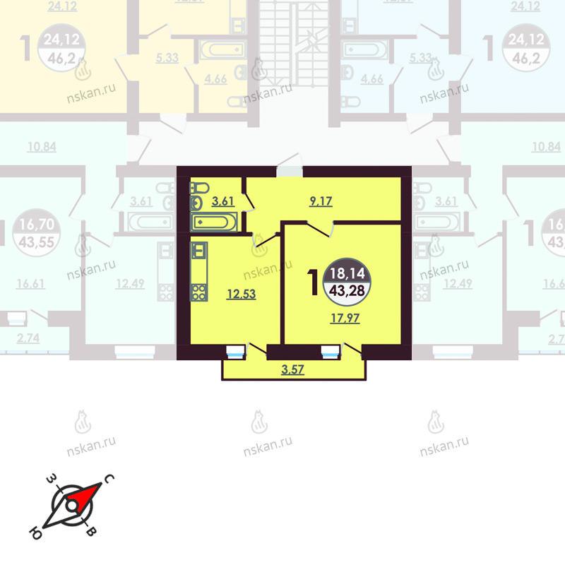 Планировка 1-комнатная площадью 43.28 м<sup>2</sup> в ЖК Ключевой
