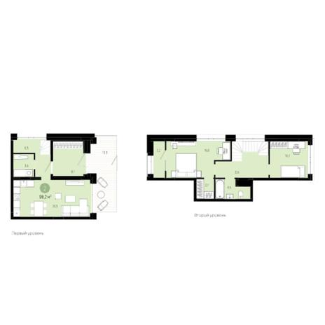 Вариант №6011, 3-комнатная квартира в жилом комплексе