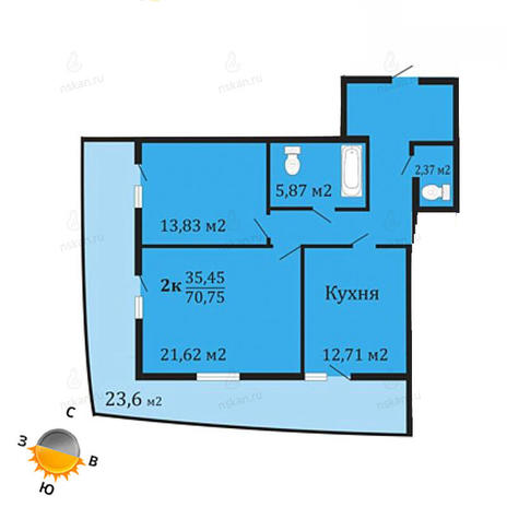 Вариант №1067, 2-комнатная квартира в жилом комплексе Грани