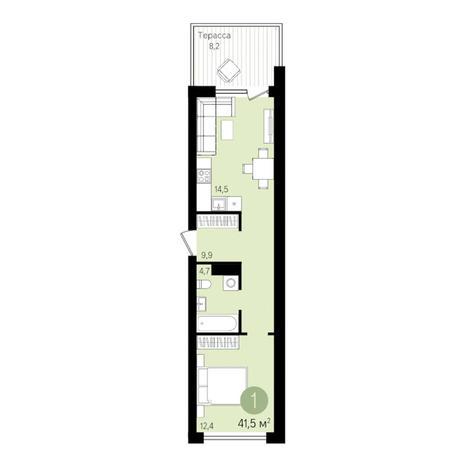 Вариант №3297, 1-комнатная квартира в жилом комплексе