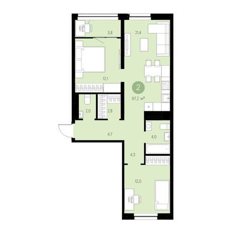 Вариант №4651, 3-комнатная квартира в жилом комплексе