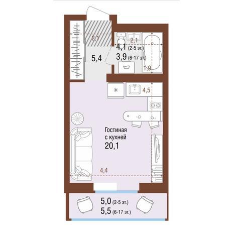 Вариант №4219, 1-комнатная квартира в жилом комплексе Акварельный 3.0