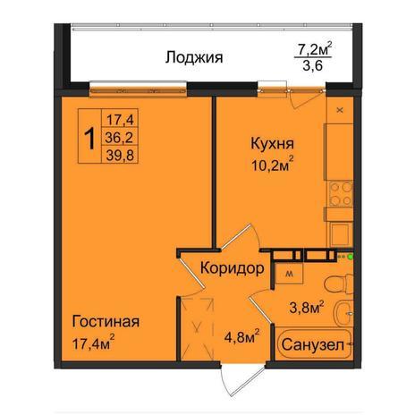 Вариант №5029, 1-комнатная квартира в жилом комплексе