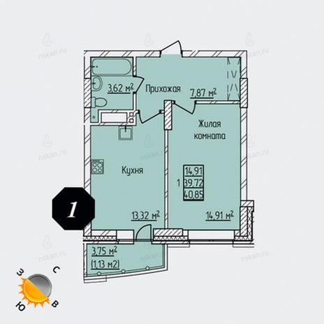Вариант №1305, 1-комнатная квартира в жилом комплексе Просвещение