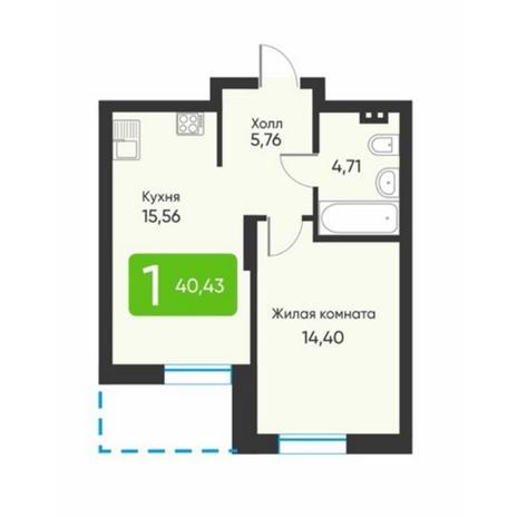 Вариант №5881, 1-комнатная квартира в жилом комплексе