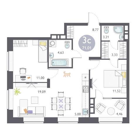 Вариант №3363, 3-комнатная квартира в жилом комплексе Ясный берег