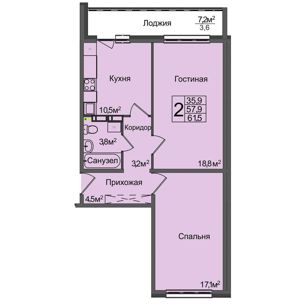 Планировка 2-комнатная площадью 61.5 м<sup>2</sup> в ЖК Венеция
