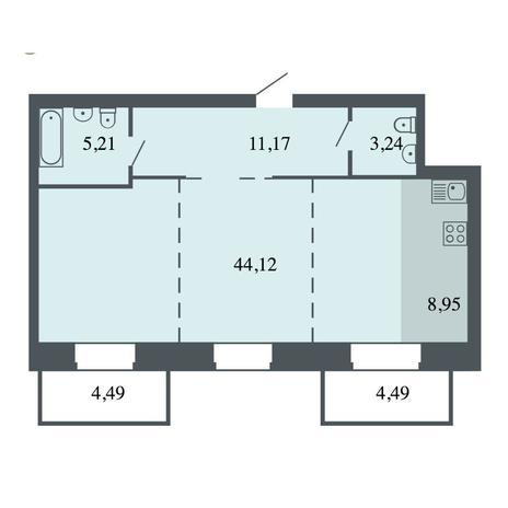 Вариант №4475, 3-комнатная квартира в жилом комплексе Шесть звезд