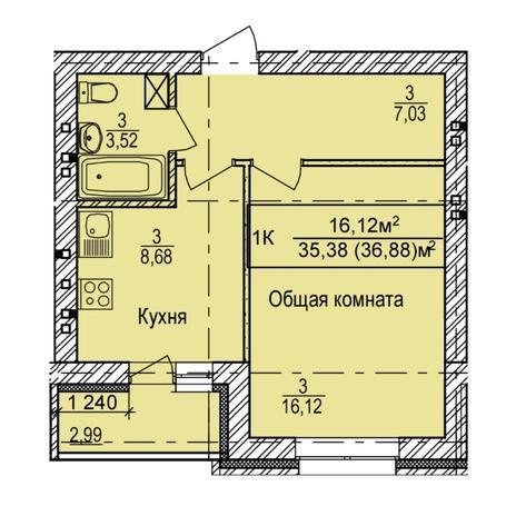 Вариант №5403, 1-комнатная квартира в жилом комплексе